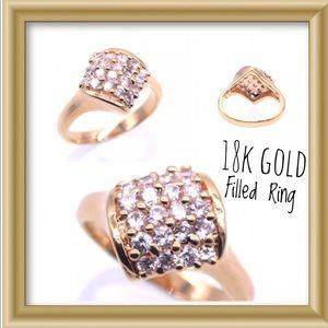 Square 18Kt Gold Filled CZ Ring